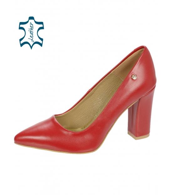 Piros bőr körömcipő vastag sarokkal 944-014