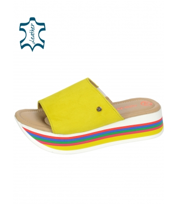 Sárga bőrpapucsok színes MARLENE talpazaton DSL3000