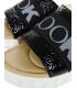 Fekete fényes bőrpapucs gumival DSL3000