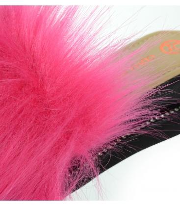 Fekete bőrpapucs rózsaszín szőrmével SHINE DSL3001