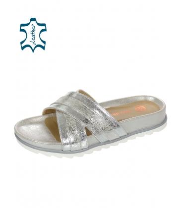 Ezüst mintás papucs ezüst talpazaton DSL071