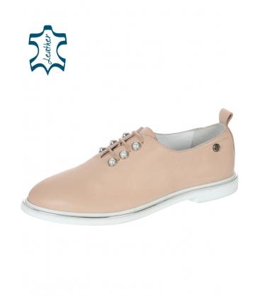 Púder bőr elegáns cipő gyöngyökkel D-741