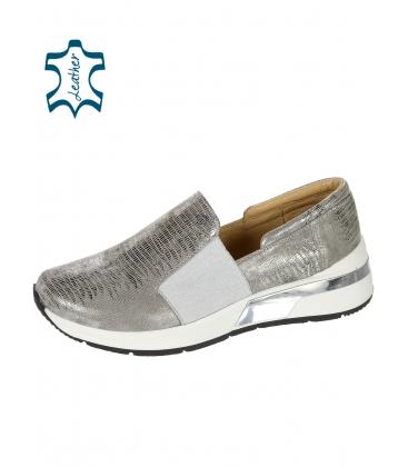 Sötét ezüst bőr cipők finom mintával K3064