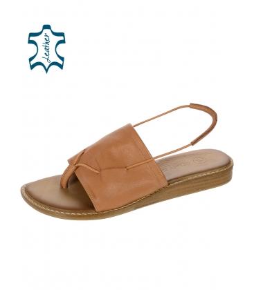 Barna bőrpapucs gumival 02-2420