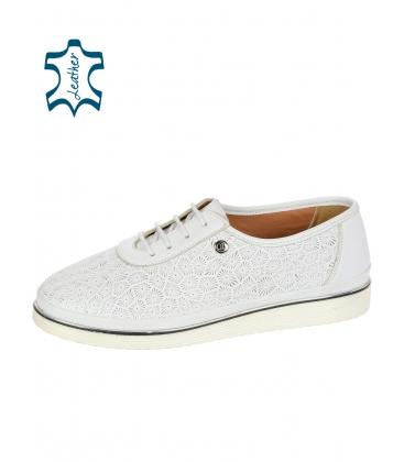 Fehér bőr teniszcipő mintával D-505