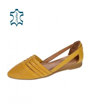 Sárga nyitott bőr balerina 14-603