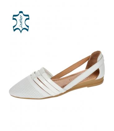 Fehér nyitott bőr balerina 14-603