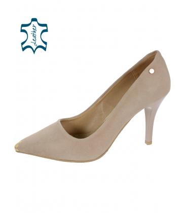 Sötétbézs alkalmi cipő arany dísszel DLO2117