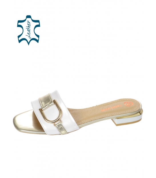 Bílé perleťové papucs DSL2141 arany díszítéssel