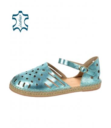 Élénk, kék, kényelmes bőr-szandál, a láb körül körülkötő 016-5005