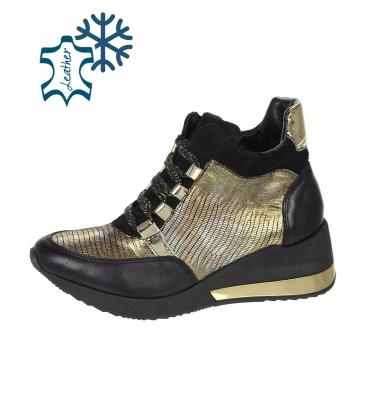 Meleg fekete teniszcipő arany kígyó mintával DKO3018