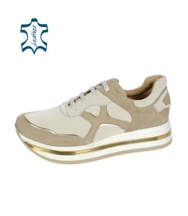 Bézs-arany színű cipők KARLA DTE3300 talpmintával