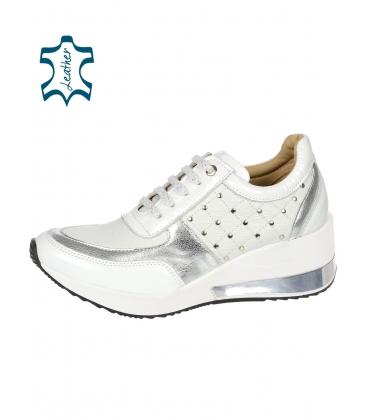 Dekoratív fehér-ezüst stílusos cipők DTE3304