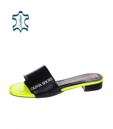Fekete neon egyszáraz papucs Olivia DSL 2218 szegéllyel