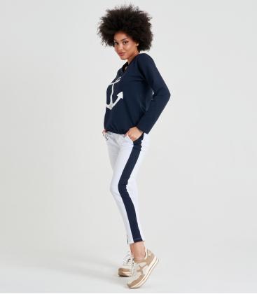Női jogging szett kék-fehér színben, matróz motívummal NOEMI
