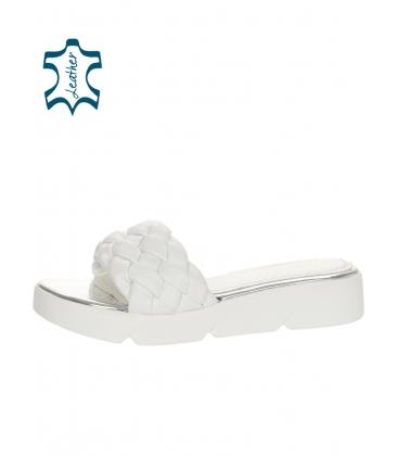 Fehér-ezüst bőr papucs DSL 2263