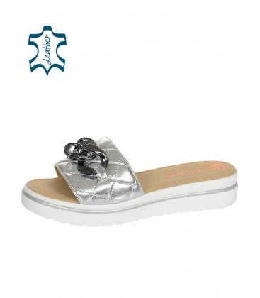 Ezüst steppelt bőr papucs DSL3400
