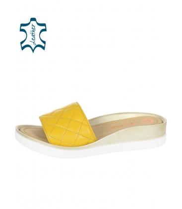 Sárga steppelt bőr papucs alakú talpon DSL540 yellow lico