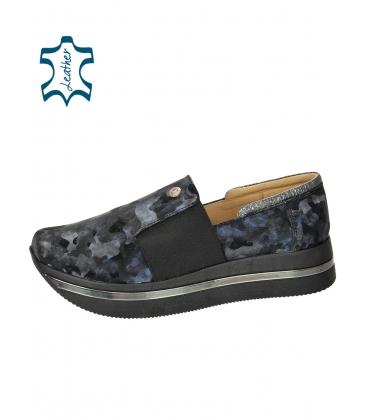 Fekete-kék álcázott cipők a talpon KARLA DTE3064