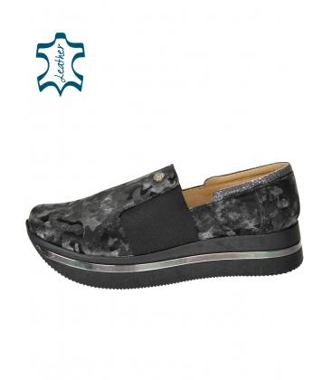 Fekete-szürke álcázott cipők a KARLA talpán DTE3064