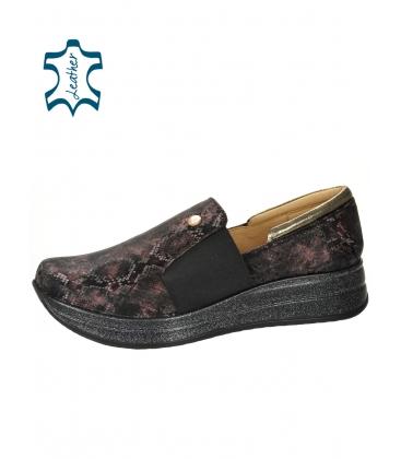 Fekete-bordó cipők finom kígyó mintával DTE3064