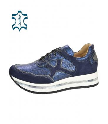 Kék-ezüst cipők mintával fehér talpon KARLA DTE3300