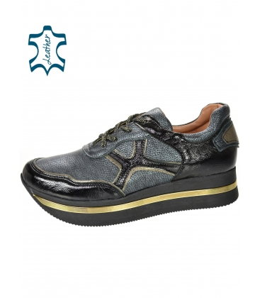 Fekete-szürke cipők mintával a fekete-arany talpon KARLA DTE3300