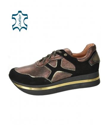 Fekete-bordó cipők mintával, fekete talpon KARLA DTE3300