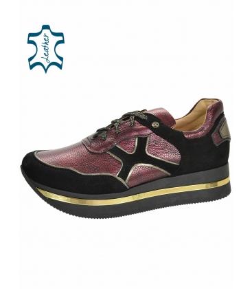 Fekete-lila cipők mintával, fekete talpon KARLA DTE3300