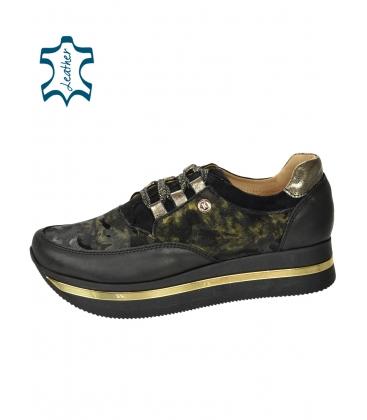 Fekete-zöld cipők álcázott mintával fekete talpon KARLA DTE2118