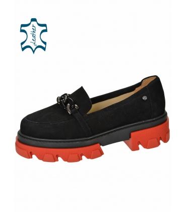Fekete extravagáns alacsony cipő DBA2268 lánccal