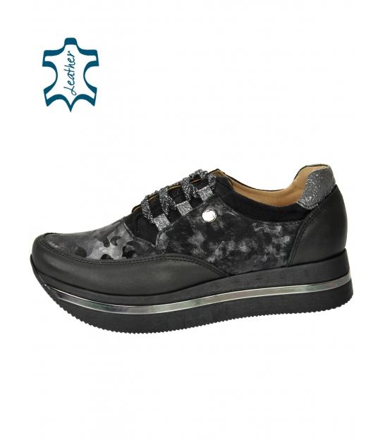 Fekete-szürke cipők álcázott mintával fekete talpon KARLA DTE2118