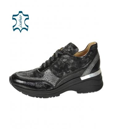 Fekete szürke cipők szürke álcázott mintával a talpán TAMIRA DTE3307