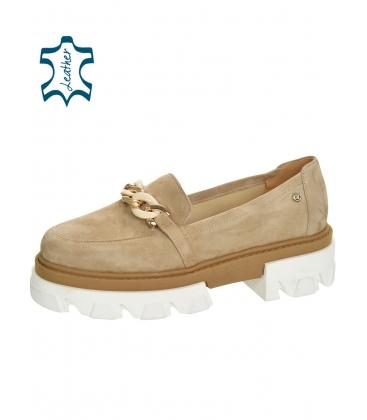 Halványbarna extravagáns alacsony cipő DBA2268 lánccal