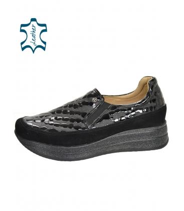Feketek mintás slip-on tornacipő csillogó talpon DTE3316