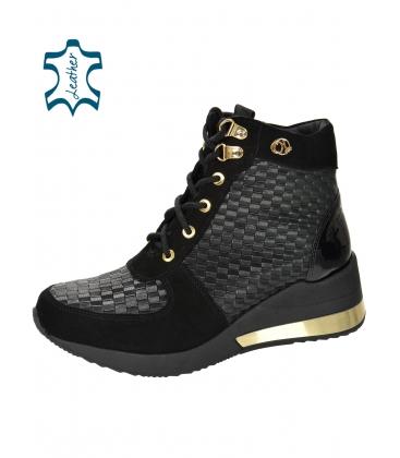 Szigetelt fekete és arany cipők mintás anyaggal DKO2267