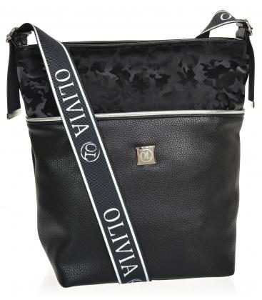 Fekete-ezüst nagyobb crossbody táska KALISTO mintával
