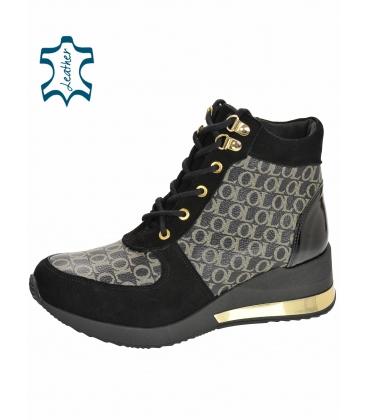 Szigetelt fekete és arany cipők OL monogrammal DKO2267