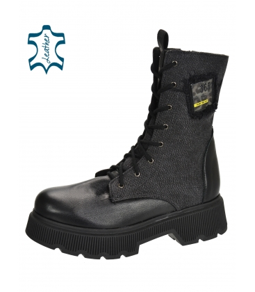 Fekete kényelmes bokacsizma rátéttel DKO2272