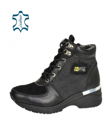 Szigetelt fekete cipők mintás anyaggal és DKO2282 rátéttel