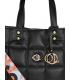 Nagy fekete-piros steppelt táska stílusos színes szíjjal ANDREA