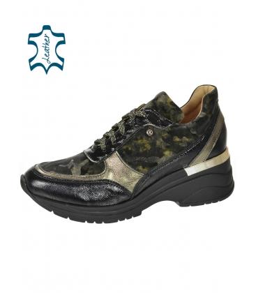 Fekete arany cipők zöld álcázási mintával a TAMIRA DTE3307 talpán