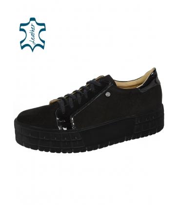 Fekete csiszoló bőr cipők lakkozott elemmel a fekete talpon HANZA DTE089