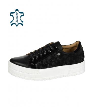 Fekete cipők finom monogrammal és lakkozott elemmel fehér talpon HANZA DTE3317