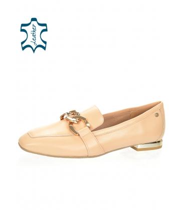 Bézs színű, elegáns, alacsony bőr cipő arany díszítéssel 5042