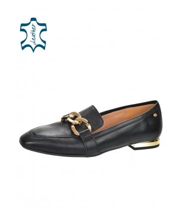 Fekete színű, elegáns, alacsony bőr cipő arany díszítéssel 5042