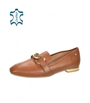 Barna színű, elegáns, alacsony bőr cipő arany díszítéssel 5042