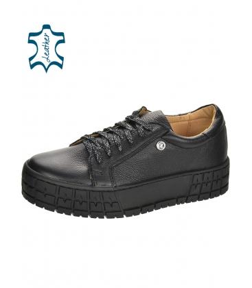 Fekete egyszerű cipők fekete talpon HANZA DTE3402