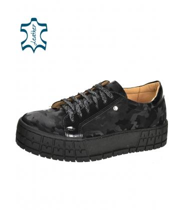 Fekete tornacipő álcázott mintával a Hanza DTE3097 talpán