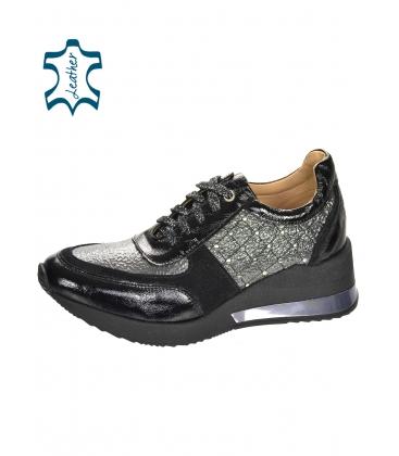 Fekete-szürke, elegáns cipők dekoratív alkalmazásokkal a Kamila talpán DTE3304